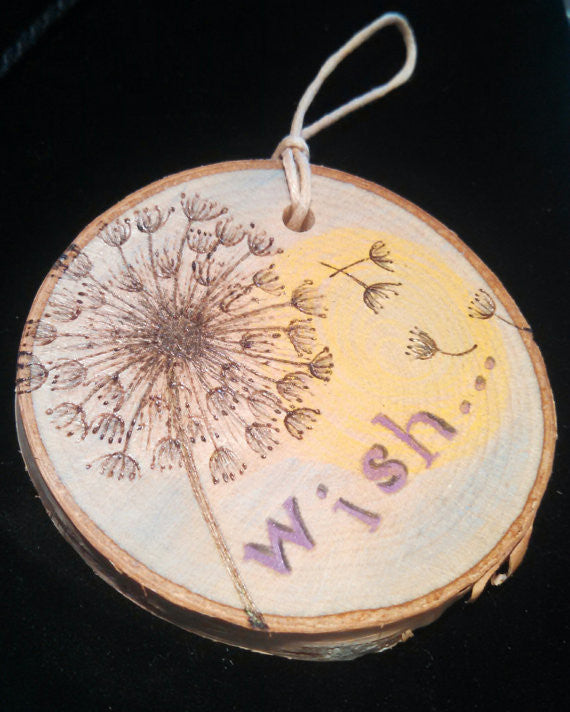Dandelion Wish Woodburned Ornament