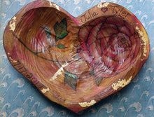 Peony Heart Shaped Woodburned Bowl