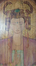 Quan Yin Woodburned Watercolor Painting