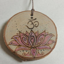 Lotus Flower with Om Woodburned Ornament