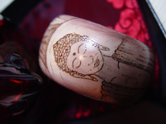 Buddha Woodburned Bracelet