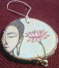 Buddha and Lotus Flower Woodburned Ornament