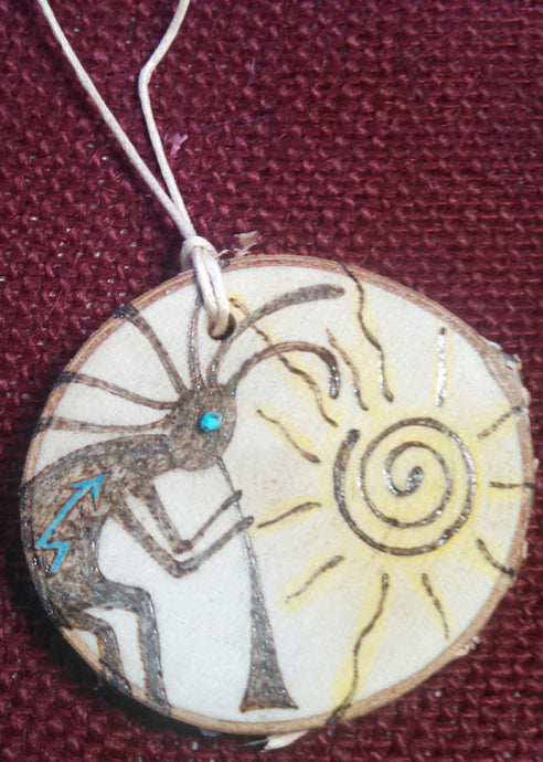 Kokopelli Woodburned Ornament
