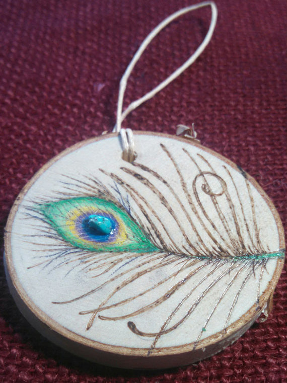 Peacock Feather Woodburned Ornament