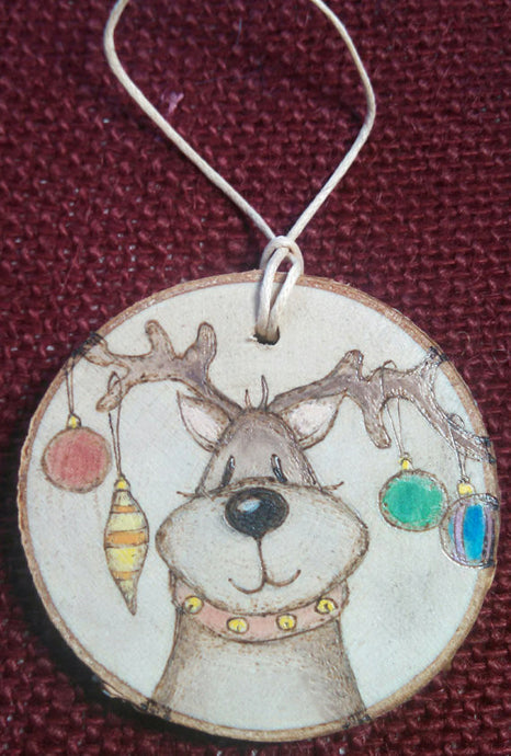Reindeer Woodburned Ornament