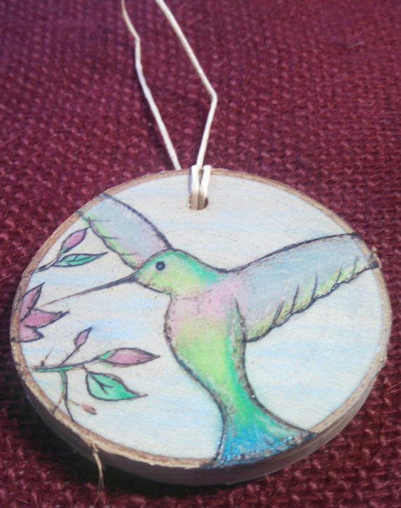 Hummingbird Woodburned Ornament
