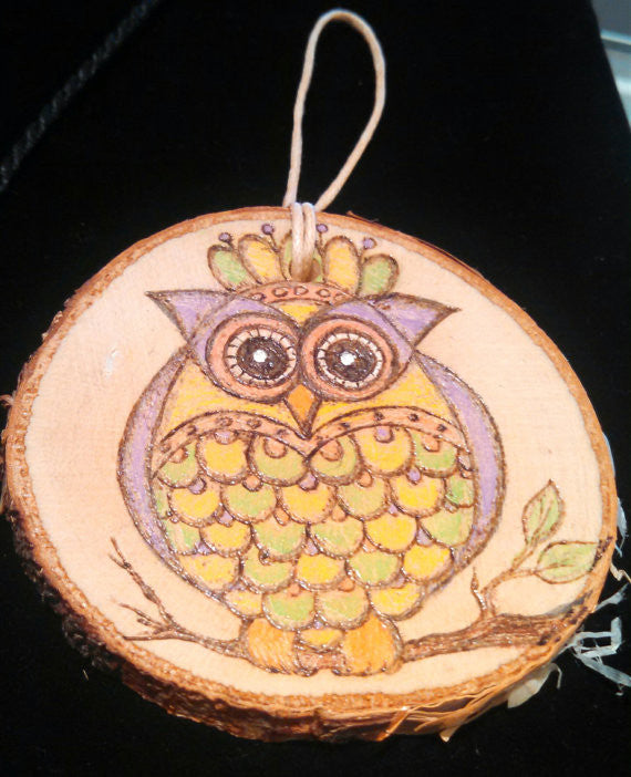 Owl Woodburned Ornament