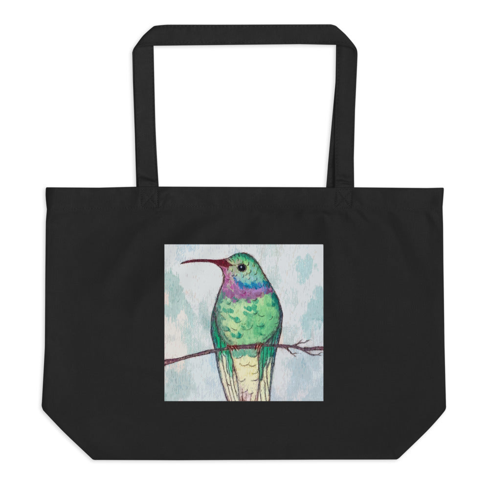 Hummingbird Love Large organic tote bag