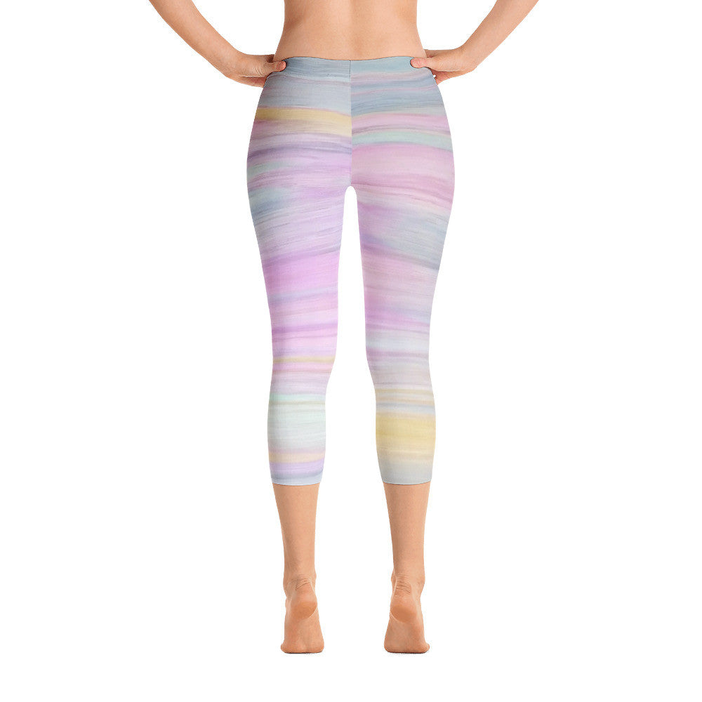 Watercolor Lotus Sunrise Capri Leggings