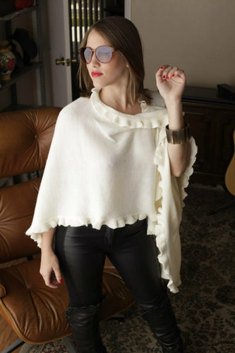 Alpaca Cape with Ruffle