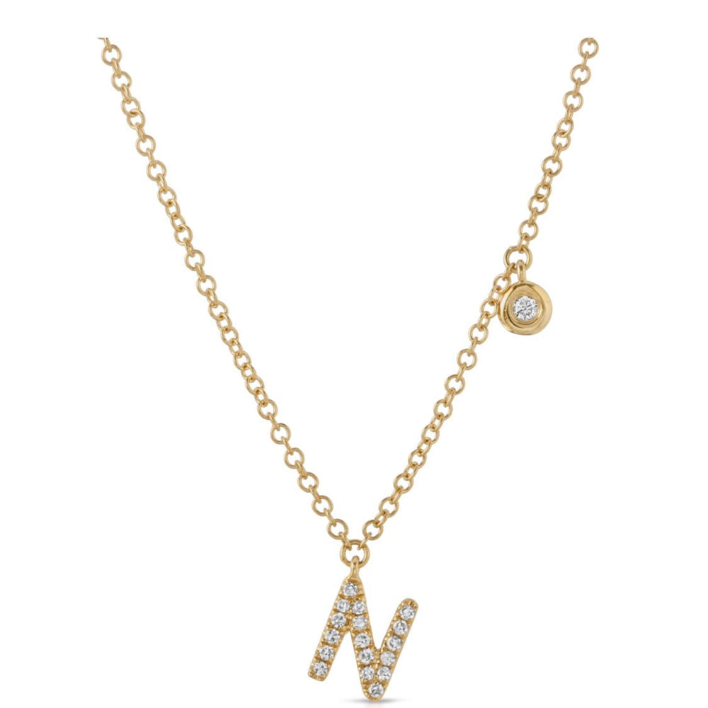 diamond necklace, diamond initial necklace