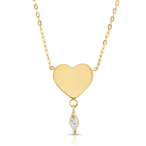 14K Gold Heart and Marquise Diamond Necklace