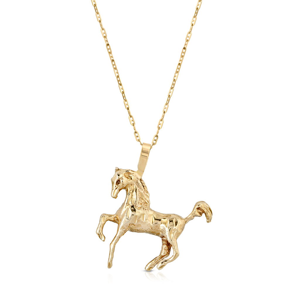 VINTAGE 14K PRANCING HORSE NECKLACE