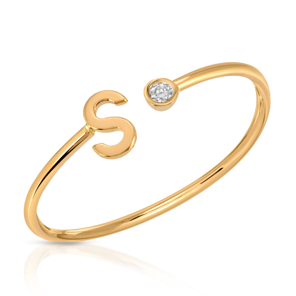 Diamond Initial S Ring