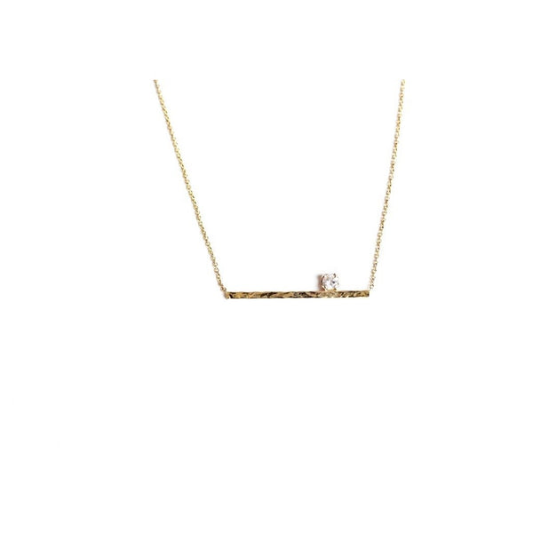 14K Bar Necklace with Prong Set Diamond