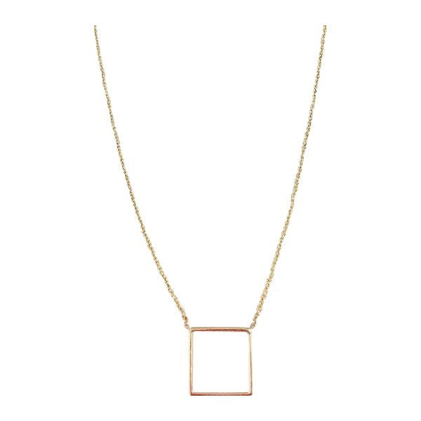 14k Yellow Gold Open Square Necklace