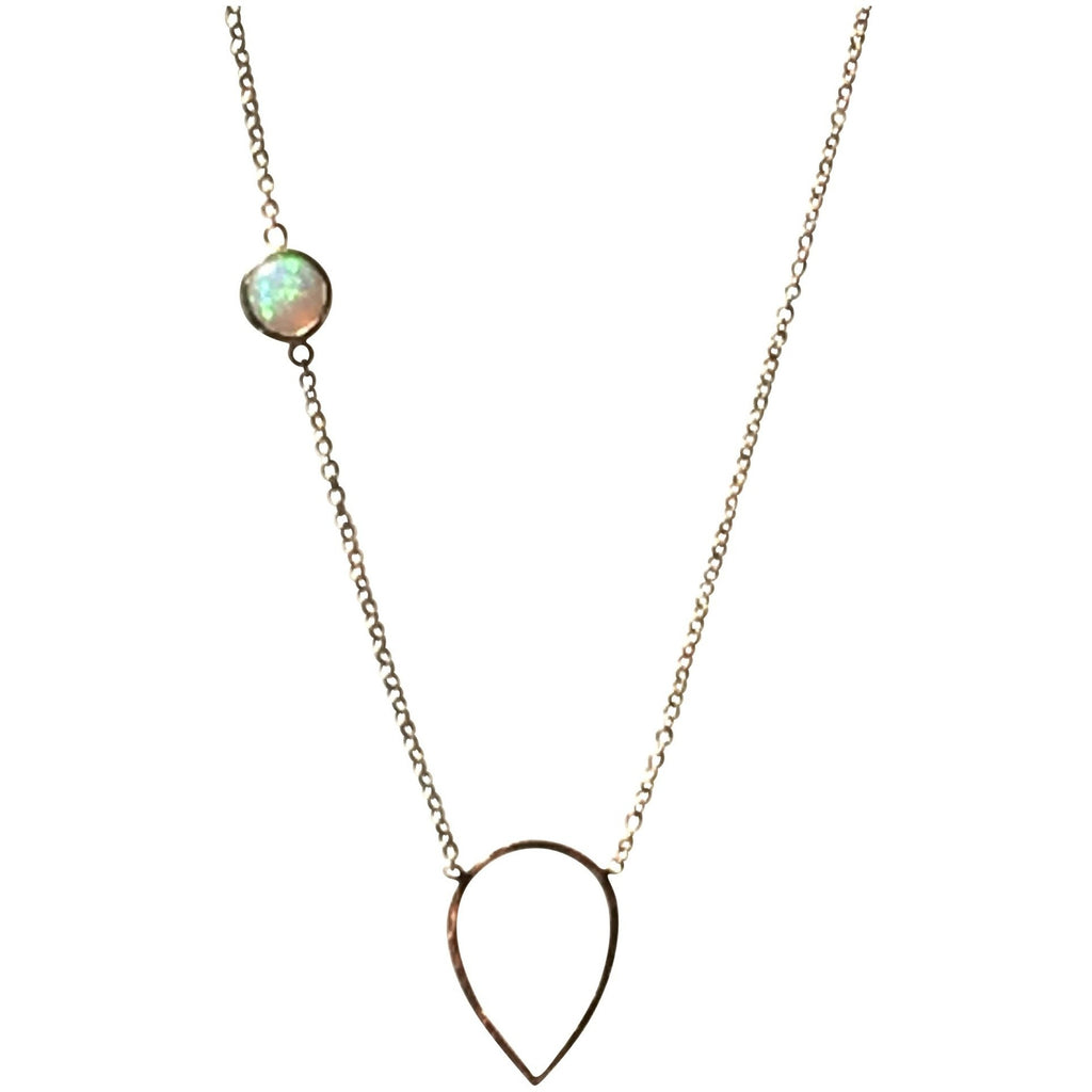 14k gold Teardrop & Opal Necklace