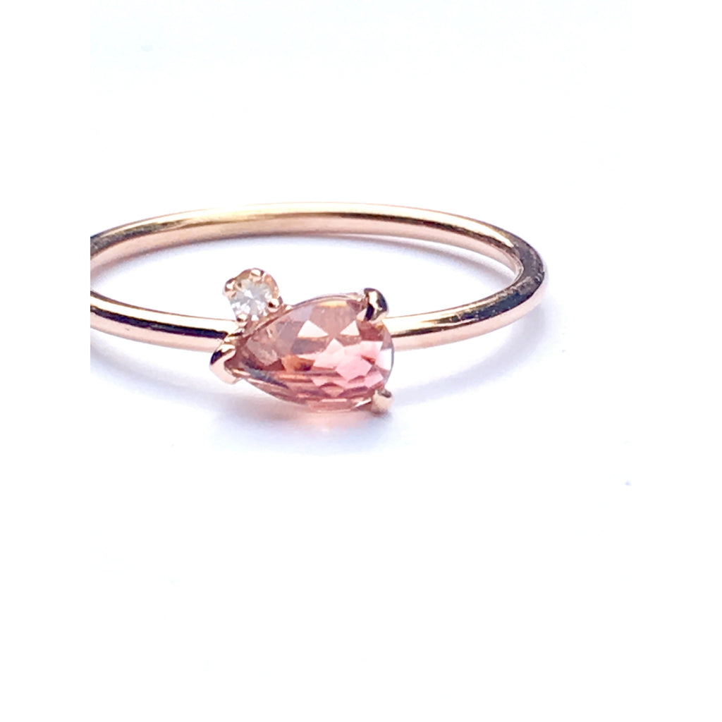Pink/Peach Tourmaline and diamond 14k rose gold ring
