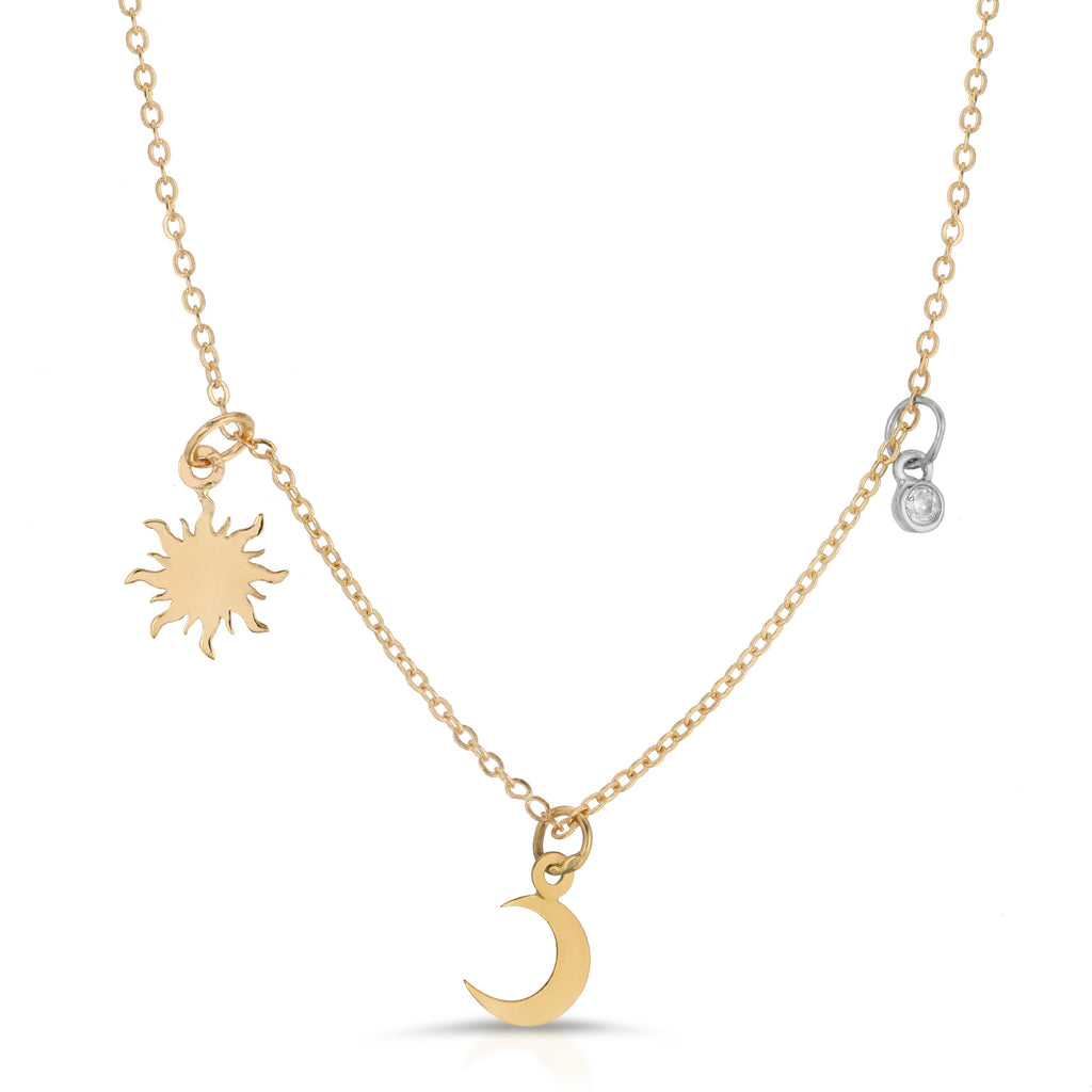 14k Gold Sun & Moon Necklace