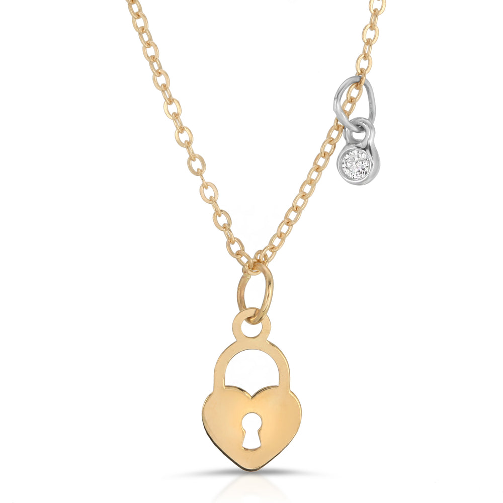 danielle-moosbrugger,HEART CHARM AND DIAMOND NECKLACE,Necklaces