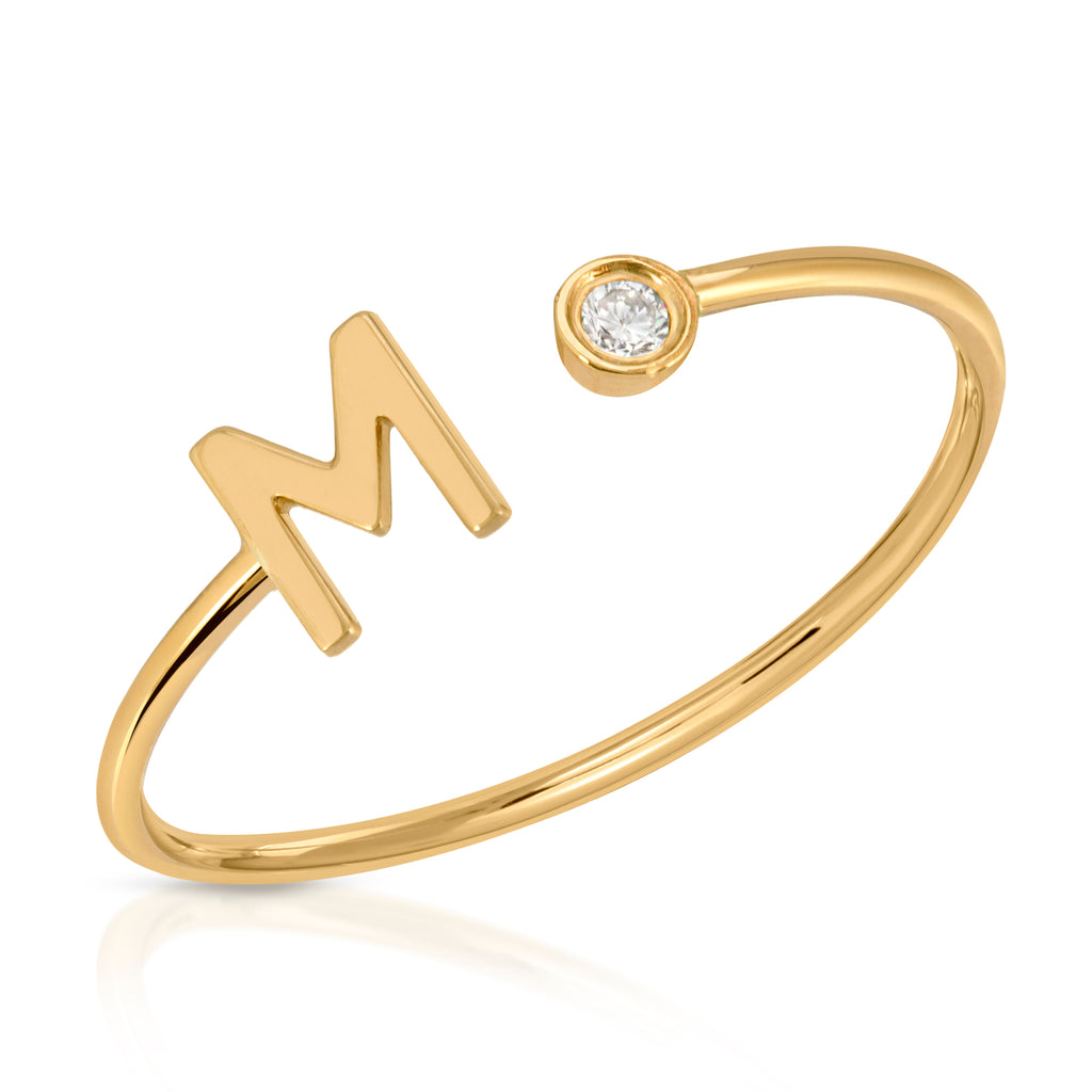 Diamond Initial M Ring