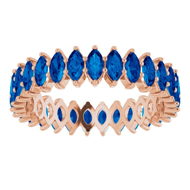 SAPPHIRE MARQUISE CUT 10K ROSE ETERNITY BAND