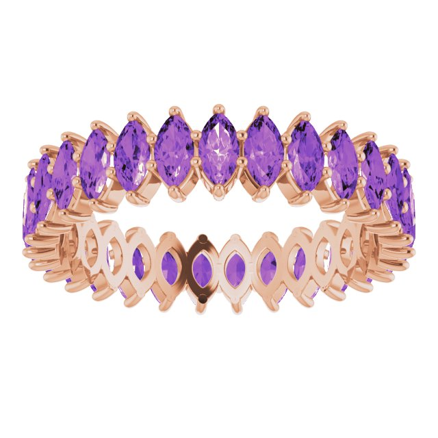 AMETHYST MARQUISE CUT 10K ROSE GOLD ETERNITY BAND