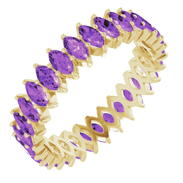 AMETHYST MARQUISE CUT 10K YELLOW ETERNITY BAND