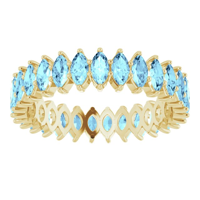 AQUA MARQUISE CUT 10K YELLOW ETERNITY BAND