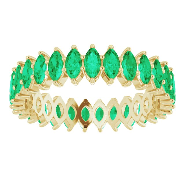 EMERALD MARQUISE CUT 10K YELLOW ETERNITY BAND