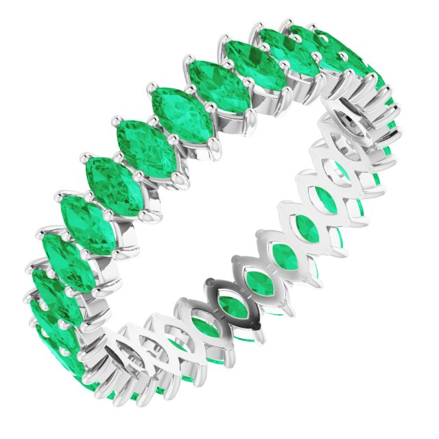 EMERALD MARQUISE CUT 10K WHITE ETERNITY RING