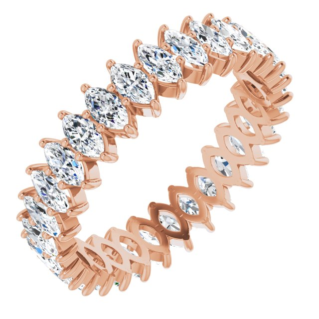 MOISSANITE MARQUISE CUT 10K ROSE ETERNITY BAND