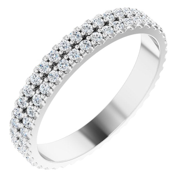 DOUBLE DIAMOND 14K WHITE ETERNITY BAND