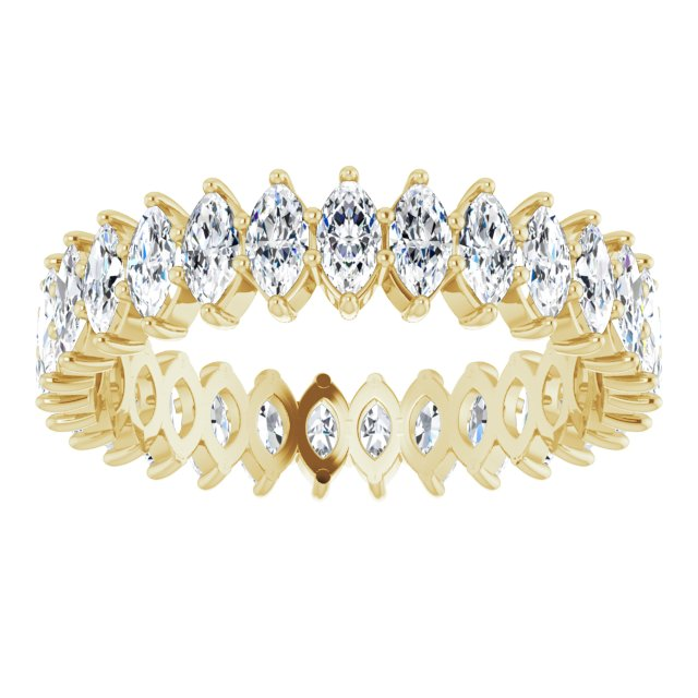 MOISSANITE MARQUISE CUT 10K YELLOW ETERNITY BAND