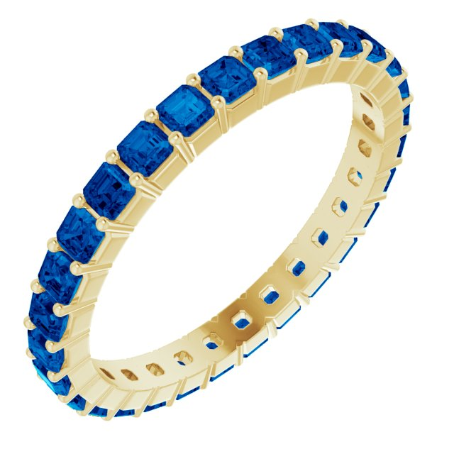 PRINCESS CUT SAPPHIRES 14K YELLOW ETERNITY BAND