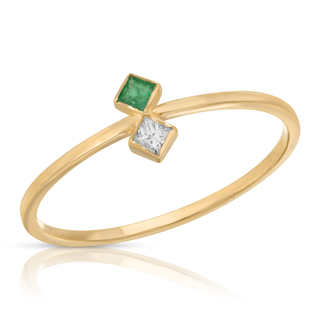 Emerald and Diamond Birth Fortune Ring