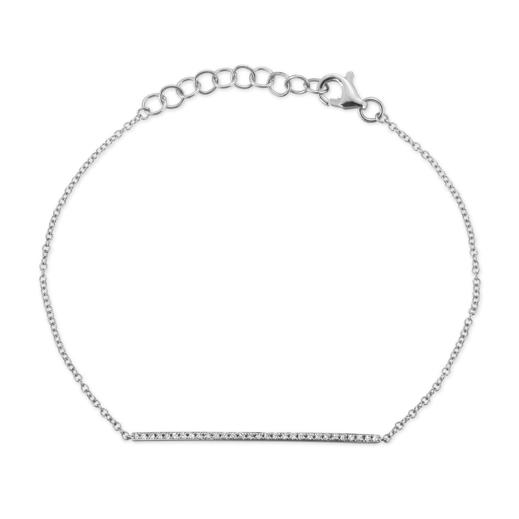 Single Bar 14k White Gold Bar Bracelet