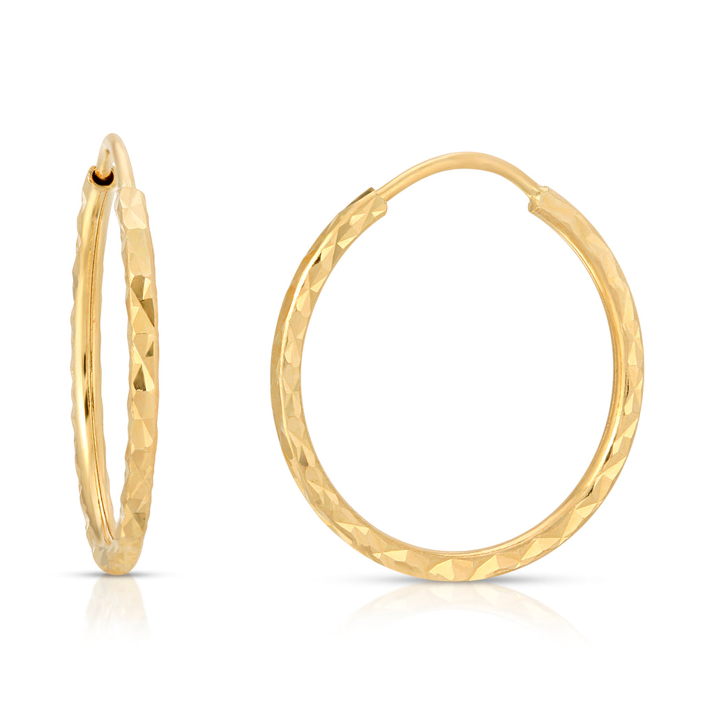 14k Gold Diamond Cut Hoops 1 1/2""