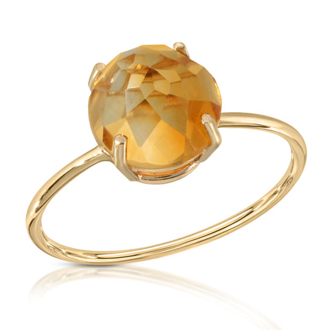 Citrine Rose Cut Dome Ring
