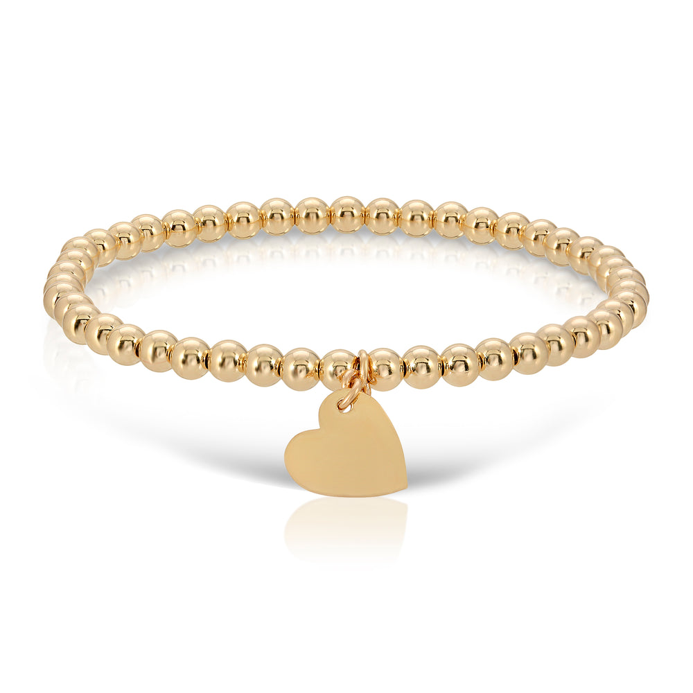 GOLD BEAD HEART BRACELET