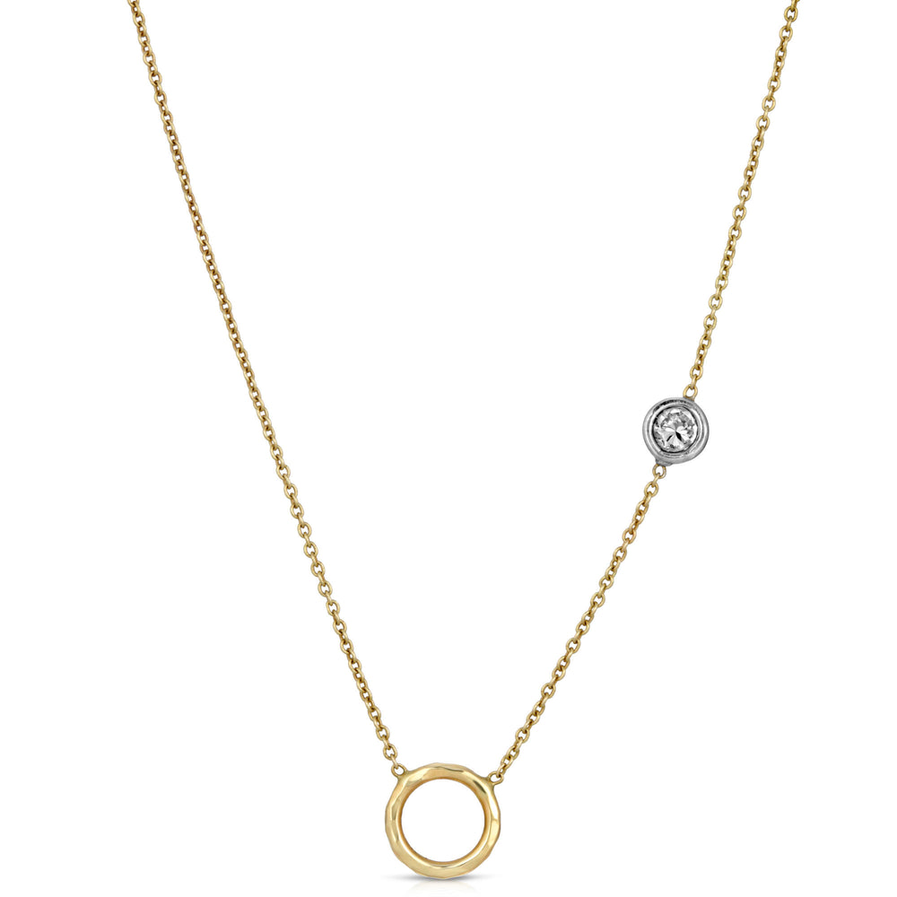 GOLD CIRCLE & DIAMOND NECKLACE