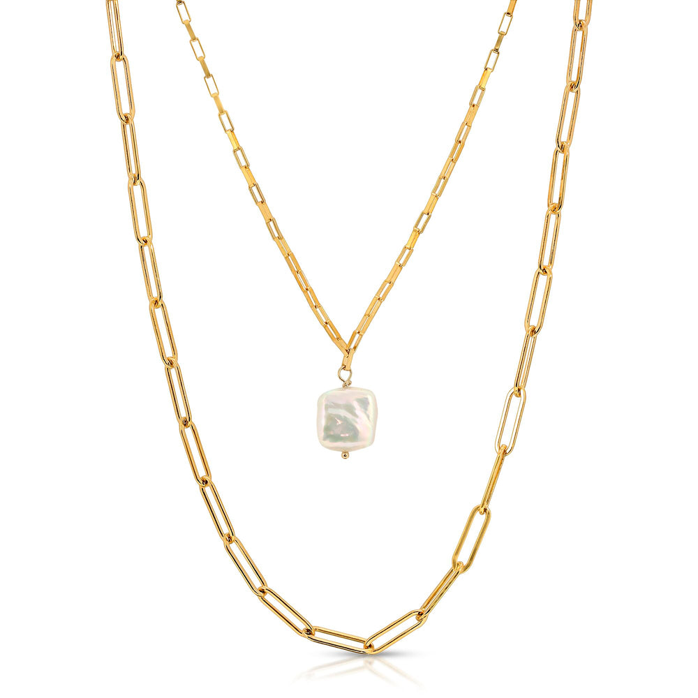DOUBLE LINK CHAIN FRESHWATER PEARL NECKLACE
