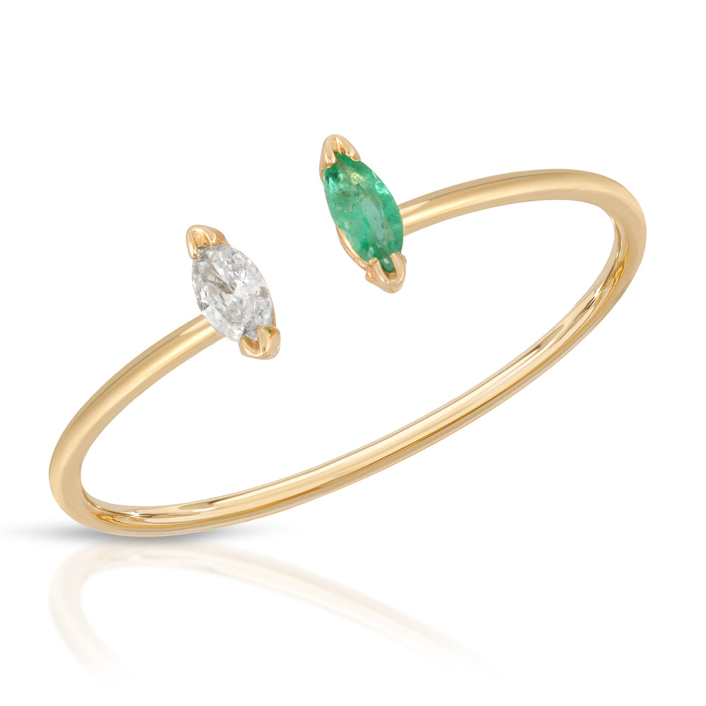 danielle-moosbrugger,EMERALD AND DIAMOND MARQUISE RING,ring