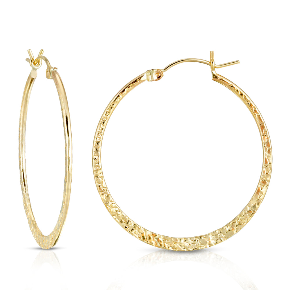 PEBBLED GOLD HOOPS