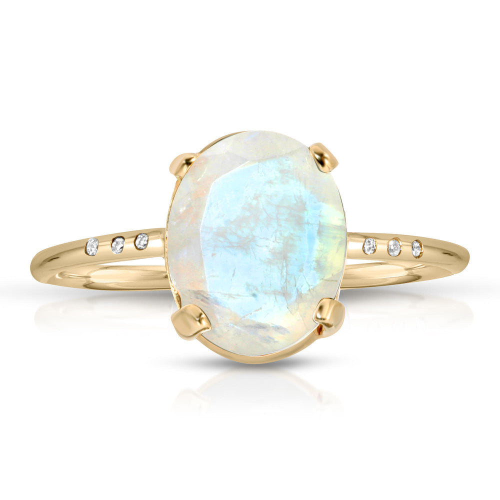 MOONSTONE AND PAVE DIAMONDS 14K RING