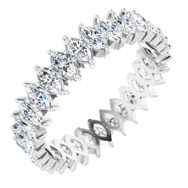 MOISSANITE MARQUISE CUT 10K WHITE ETERNITY BAND