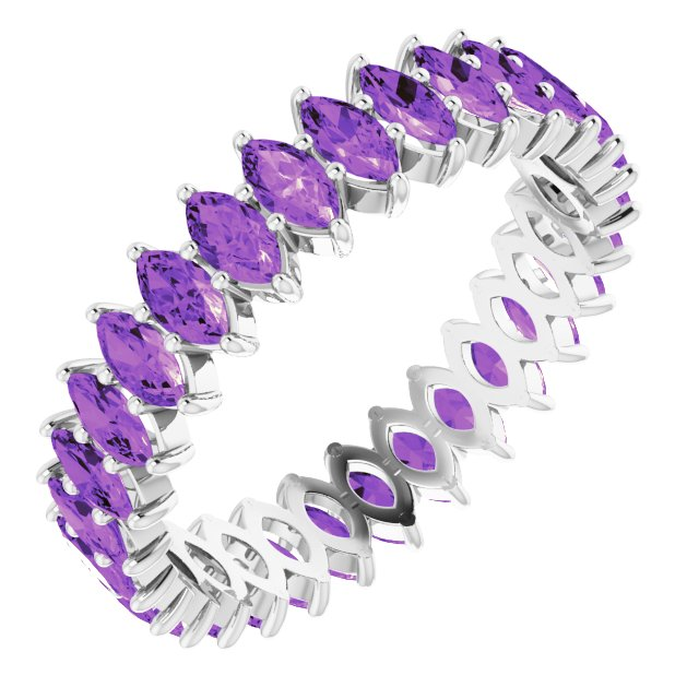 AMETHYST MARQUISE CUT 10K WHITE ETERNITY BAND