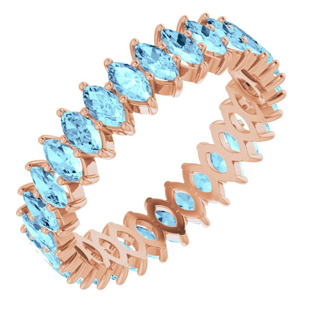 AQUA MARQUISE CUT 10K ROSE ETERNITY BAND
