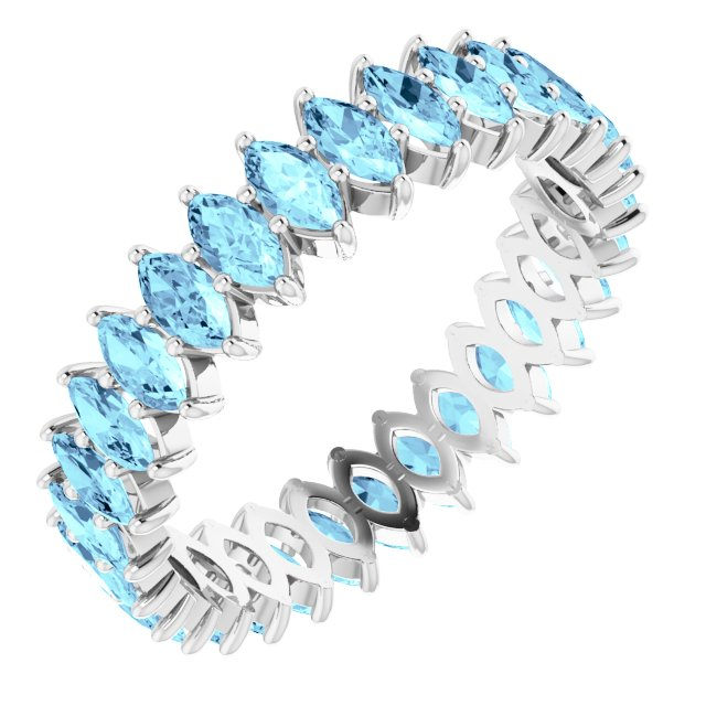 AQUA BLUE MARQUISE CUT 10K WHITE ETERNITY BAND
