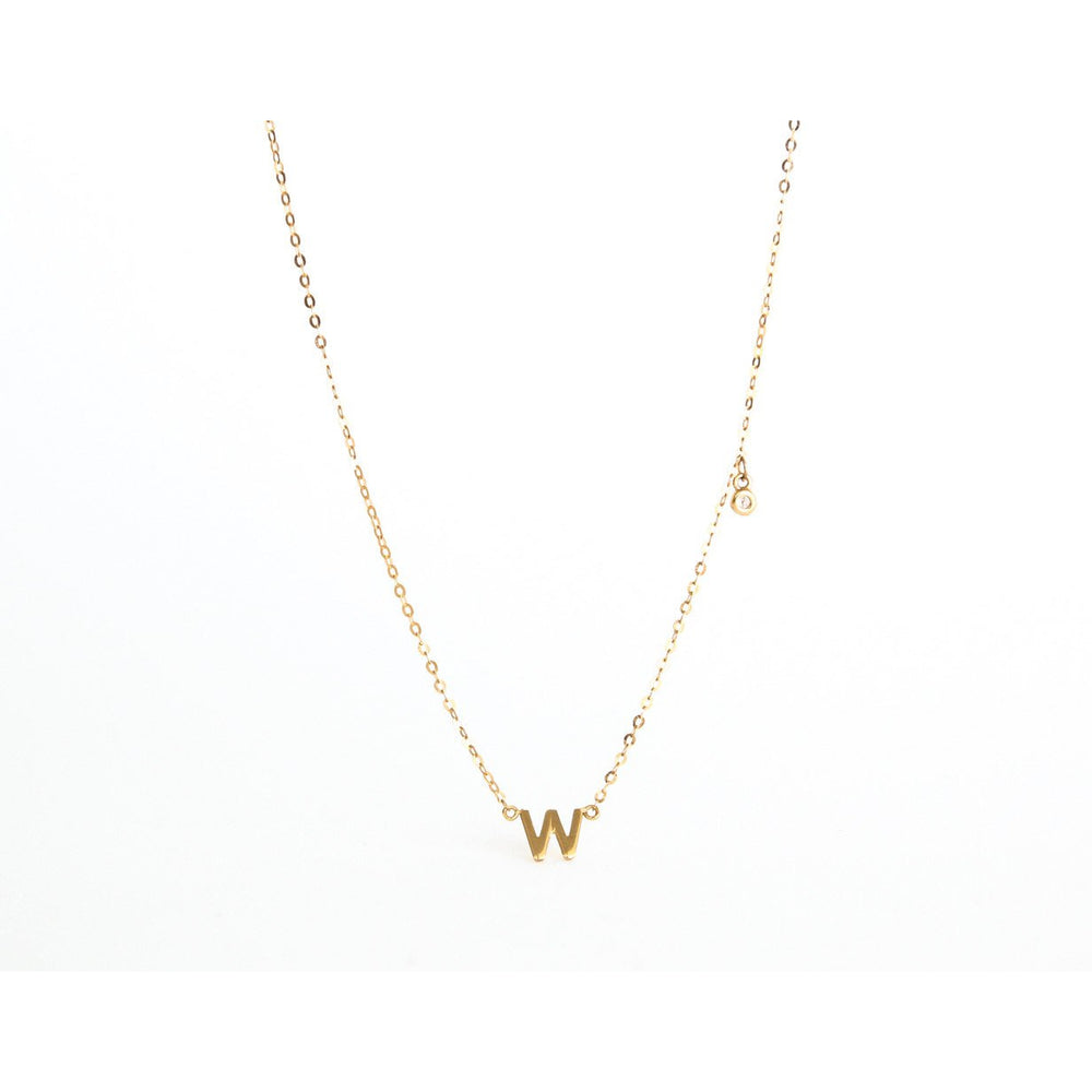 SINGLE INITIAL & DIAMOND NECKLACE
